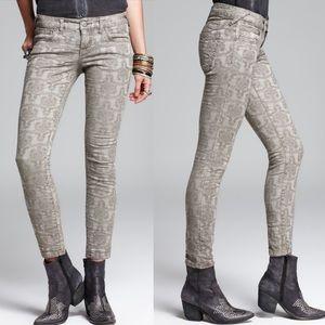 Free People Vintage Jacquard Skinny Jeans - Slate